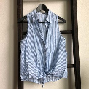 Equipment Femme Blue Striped Sleeveless Knot Top
